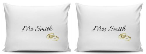 Personalised Set Of Mr & Mrs Gold Rings Pillow Cases